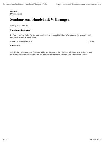 Devisenlexikon- Seminar zum Handel mit Waehrungen - was ist Forex-Trading?