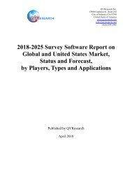 QYR: 2018-2025 Survey Software Report on  Global and United States Market, Status and Forecast,  by Players, Types and Applications