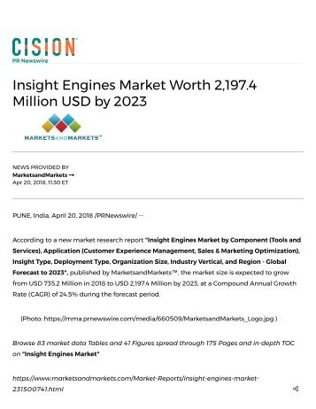 Insight Engines Market worth 2,197.4 Million USD by 2023