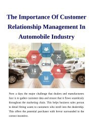 The Importance Of Customer Relationship Management In Automobile Industry