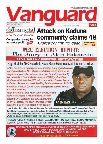 07052018 - Attack on Kaduna community claims 48 •Police confirm 45 dead