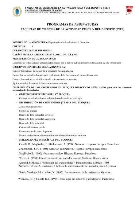 Deportes de Alto Rendimiento II: Natación - INEF - Universidad ...