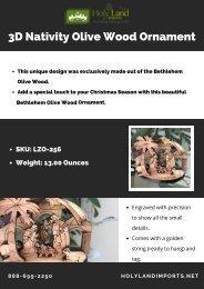 3D Nativity Olive Wood Ornament - Holy land Imports