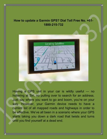 How to update a Garmin GPS Dial Toll free No. +61-1800-215-732