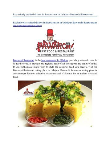 Exclusively crafted dishes in Restaurant in Udaipur Bawarchi Restaurant