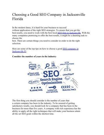 Choosing a Good SEO Company in Jacksonville Florida