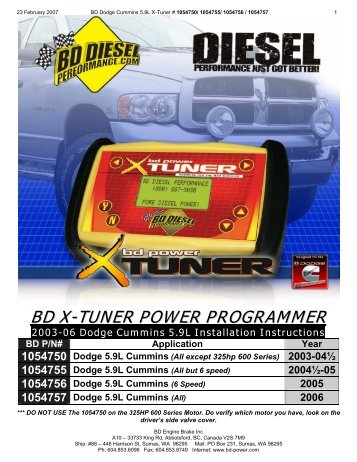 BD Diesel 1054755 Installation Instructions - Jegs