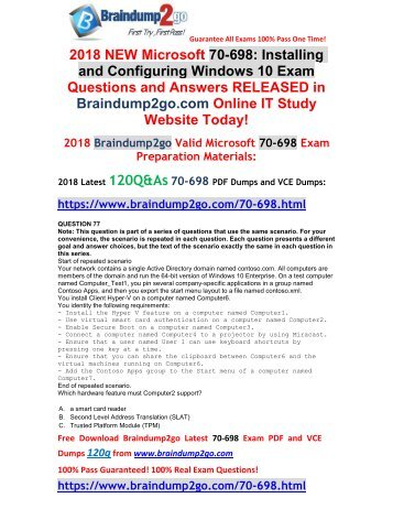 (May-2018-New)70-698 VCE and 70-698 PDF Dumps Just Updated(77-87)