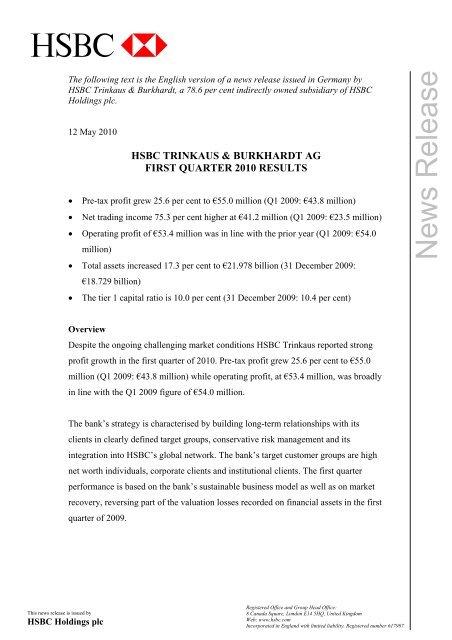 hsbc trinkaus & burkhardt ag first quarter 2010 results