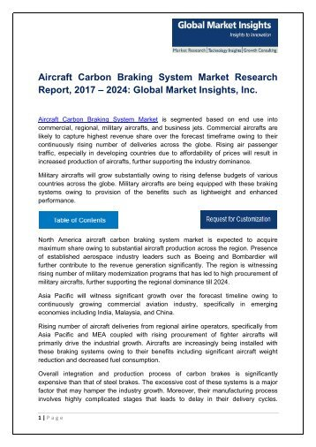 Aircraft Carbon Braking System Market By Product, Application, Region – Forecast to 2024t