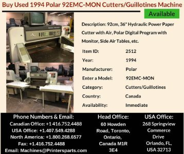 Buy Used 1994 Polar 92EMC-MON Cutters/Guillotines Machine