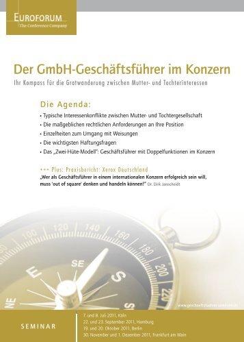 Der GmbHGeschäftsführer im Konzern - Euroforum