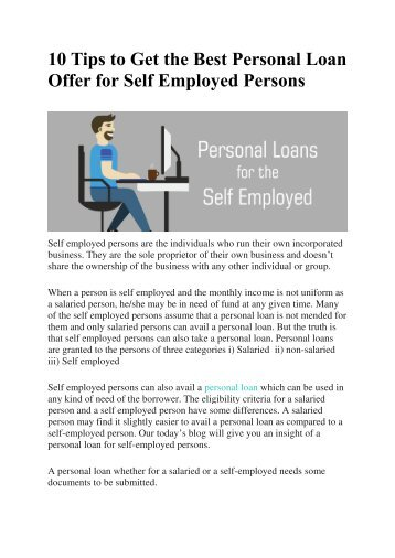 10 Tips to Get the Best Personal Loan Offer for Self Employed Persons