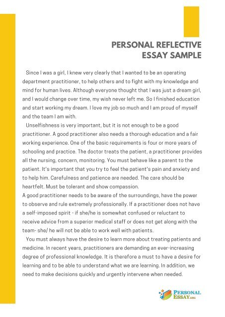 Personal reflective essay sample.
