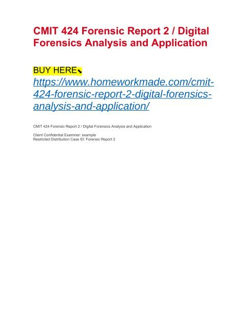 Cmit 424 Forensic Report 2 Digital Forensics Analysis And Application