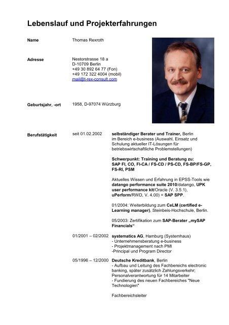 Lebenslauf Und Projekterfahrungen T Rex Consult