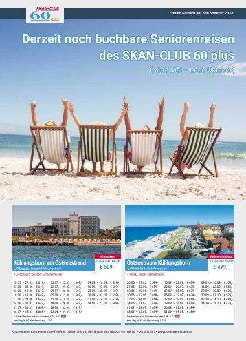 Derzeit noch buchbare Seniorenreisen des SKAN-CLUB 60 plus