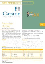 Personal Tax Planning Update