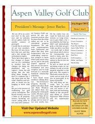 2012 July - August Newsletter - Aspen Valley Golf Club
