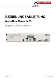 BEDIENUNGSANLEITUNG MobaTime Server MTS