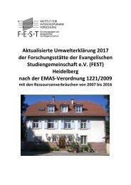 Umwelterklärung 2017 der FEST Heidelberg nach der EMAS-Verordnung 1221/2009