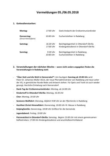 Berichtigte Vermeldungen KW19/18