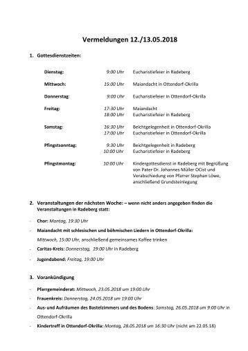 Vermeldungen KW20/18