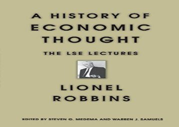[PDF] A History of Economic Thought: The LSE Lectures Download by - Lionel Robbins
