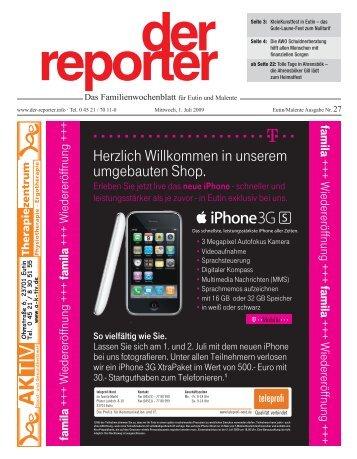 der reporter - Das Familienwochenblatt für Eutin und Malente 2009 KW 27