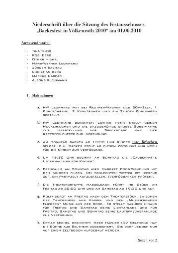 Niederschrift über die Sitzung des ... - Bell-Hunsrueck