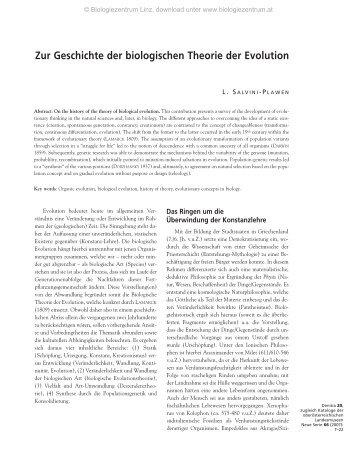 Zur Geschichte der biologischen Theorie der Evolution