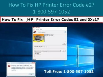 Call 1-800-597-1052 Fix HP Printer Error Code e2
