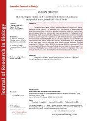 Epidemiological studies on hospital based incidence of Japanese encephalitis in the Jharkhand state of India