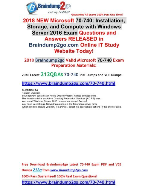 2018 May New Braindump2go 70 740 Pdf And 70 740 Vce Dumps Just
