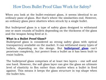 How Does Bullet Proof Glass Work for Safety
