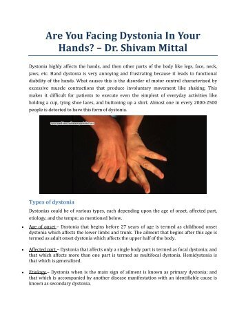 Are You Facing Dystonia In Your Hands? - Dr. Shivam Mittal