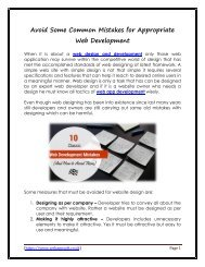 Avoid Some Common Mistakes for Appropriate Web Development
