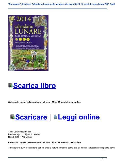 Calendario Innesti Pdf.Buonasera Scaricare Calendario Lunare Delle Semine E Dei