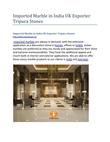 Imported Marble in India UK Exporter Tripura Stones