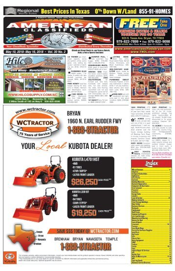 American Classifieds/Thrifty Nickel May 10th Edition Bryan/College Station