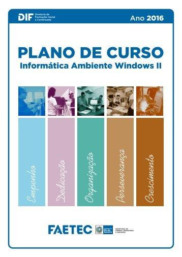 Plano de Curso de Informática Ambiente Windows II (1)