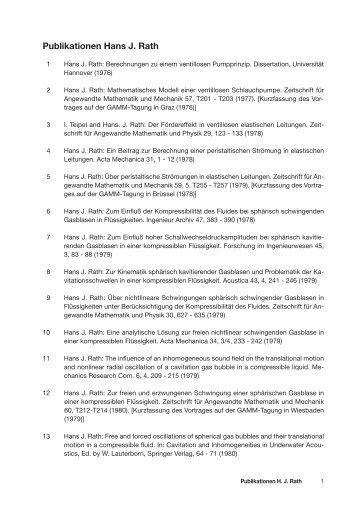 Publikationen Hans J. Rath - ZARM - Universität Bremen