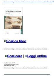 Allineamento strategico. Come usare le Balanced Scorecard per aumentare la competitività Download PDF e EPUB