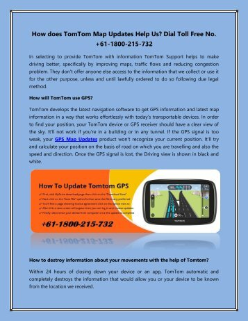 How does TomTom Map Updates Help us Dial Toll Free No. +61-1800-215-732