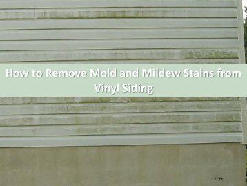 How to Remove Mold and Mildew Stains from Vinyl Siding by Carolina Water Damage Restoration