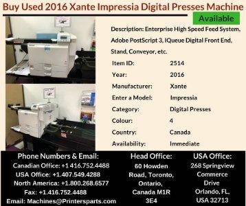 Buy Used 2016 Xante Impressia Digital Presses Machine