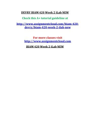 DEVRY BIAM 420 Week 2 iLab NEW