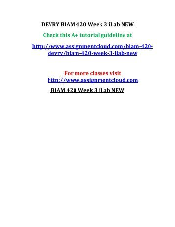 DEVRY BIAM 420 Week 3 iLab NEW