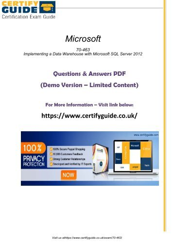 70-463 Exam Software 2018