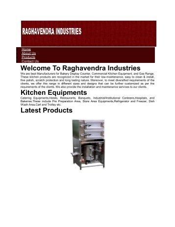 Commercial Kitchen Equipments Manufacturers-RAGHAVENDRA INDUSTRIES
